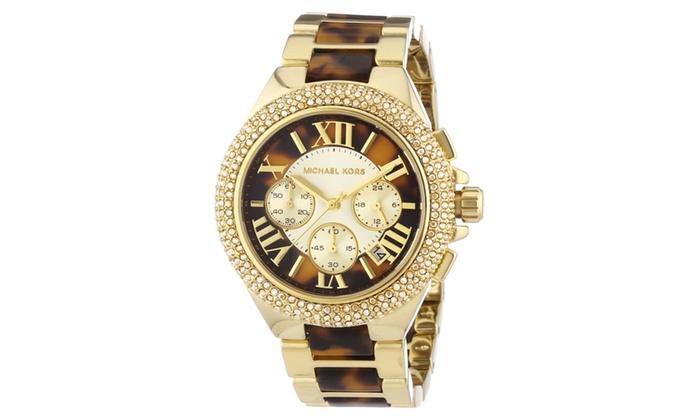 20a0613df44e Michael Kors Camille Chronograph Tortoise Shell Ladies Watch