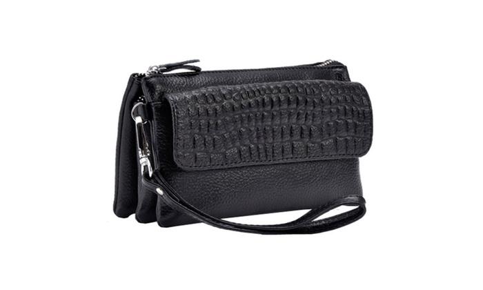 Women's Wallet Zip Bag Wristlet Crossbody Shoulder Clutch - Black