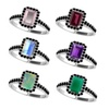 Solid Pure Silver Ring with 7x5mm Octagon Cut Natural Color Gemstone