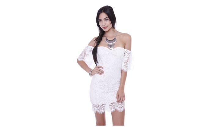 99dd687fe156 D20010 Embroider Mesh Off Shoulder Mini Dress Junior's Clothing | Groupon