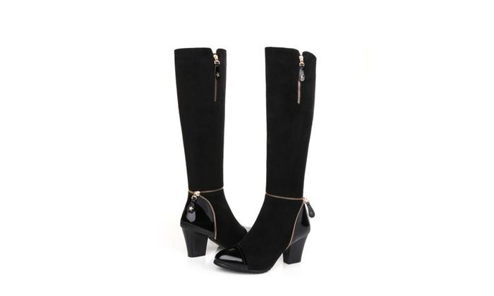 Shefetch Women's Knee High Heel Boots