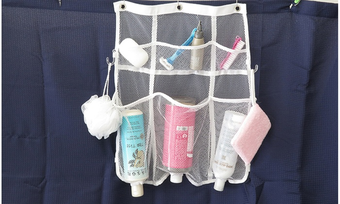 Evelots Quick Dry Mesh Hanging Shower Caddy With 6 Dispenser Pockets