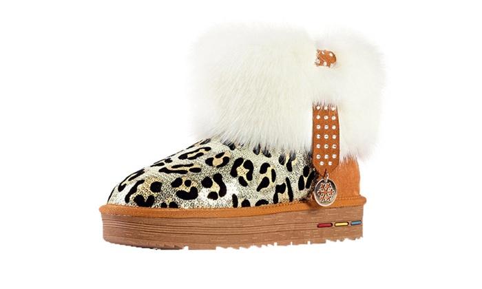 DPN Women's Classic Leather Leopard Print Snow Boots