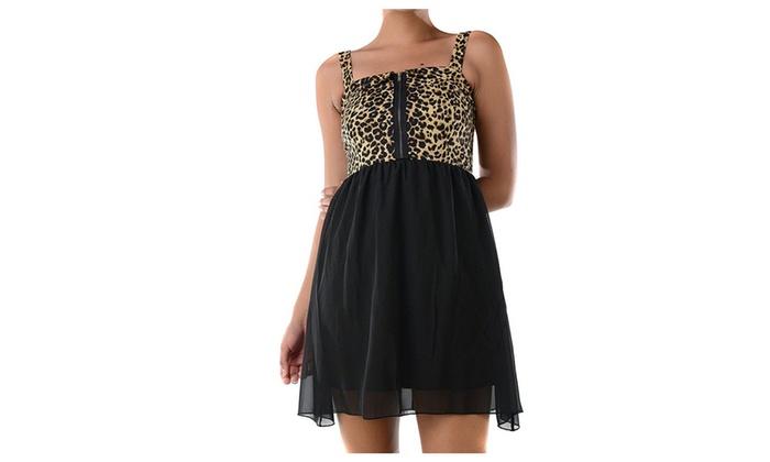 Leopard Print Front Zipper Sheer Flowy Fashion Cocktail Dress Womens  - Medium