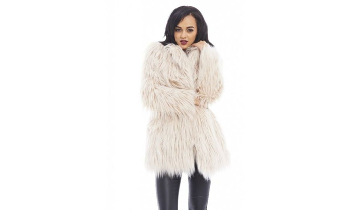12acce4e8 AX Paris Big Fur Style Coat | Groupon