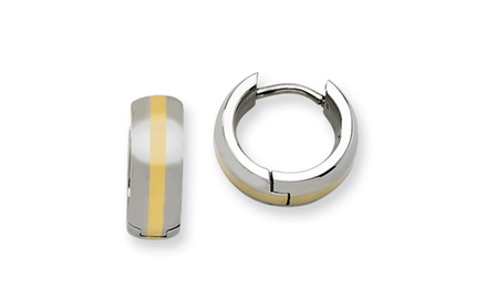 IceCarats Designer Jewelry Stainless Steel Polished w/ 14k Inlay Hinged Hoop Earrings