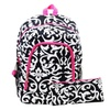 Damask Printed Girls Black White And Pink Canvas School Backpack & Pen