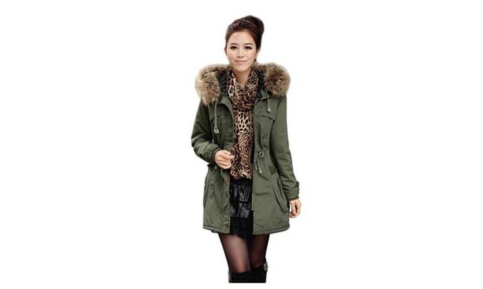 Women's Fashion Thicken Fleece Hooded Faux Fur Coat