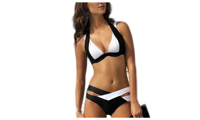 Women's No Underwire Colorblock Outdoor Sports Bikini Sets