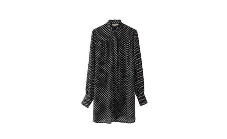 Women's Fashionable Elastic Collar Long Dot Shirts 30f7cfa9-1b73-4320-8ee0-997ade9a5974