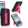 Insten Hot Pink Hard Black Skin Stand Hybrid Case for Galaxy Tab 3