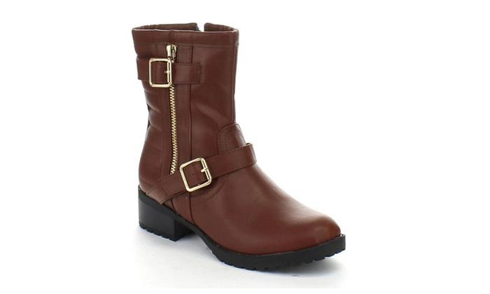 Bolaro Bc5640 Women's Mid Calf Side Zipper Riding Boots