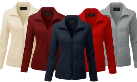 Doublju Women's Full Zip Up Fleece Jacket With Pockets (Plus Size Available)