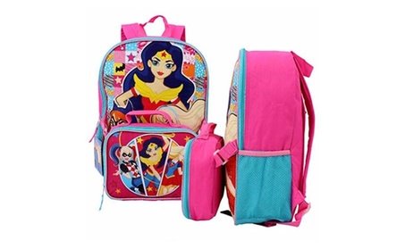 DC Comics Super Hero Girls Backpack with Lunch Bag 9ec6609a-df65-476b-9616-3bfd03057152