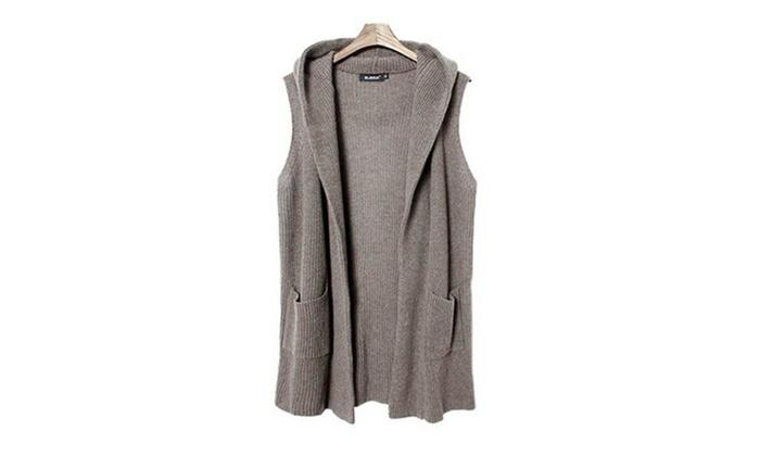 Women's Sleeveless Hooded Knitwear Cardigan Sweater