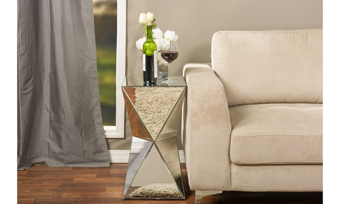 Charmant Rebecca Contemporary Multi Faceted Mirrored Side Table ...