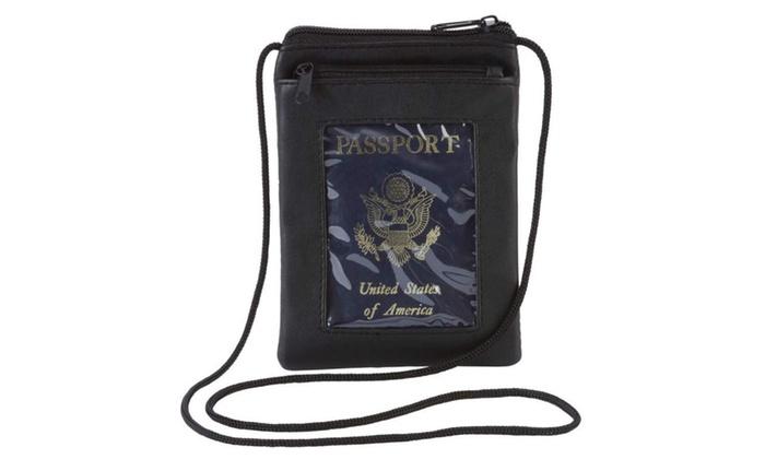 Genuine Lambskin Leather Passport Cover W/ Strap