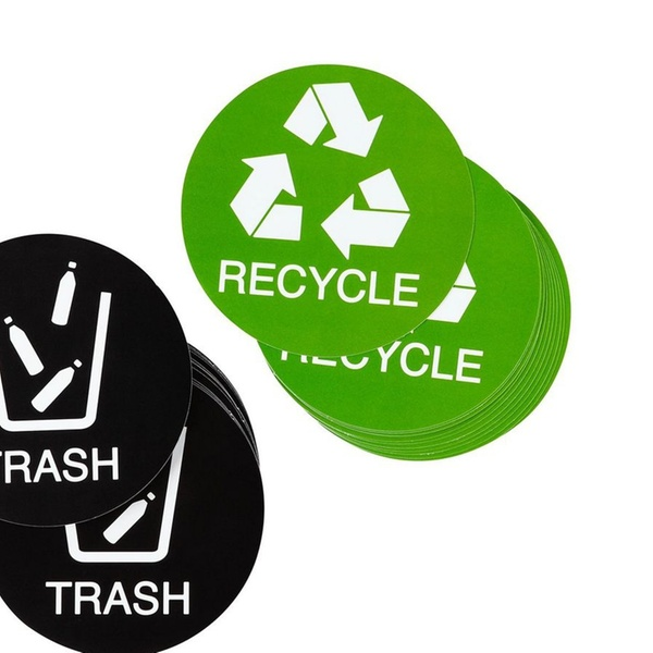 Logo can bin Business American Vinyl Green Recycle ONLY NO Garbage Sticker