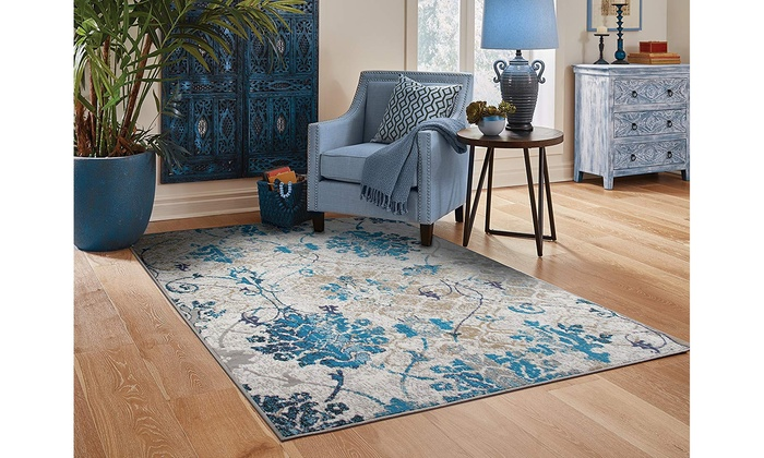 Large Area Rugs Floral Blue Living Room Rug 8x10 Cream Hallway Runner Rugs