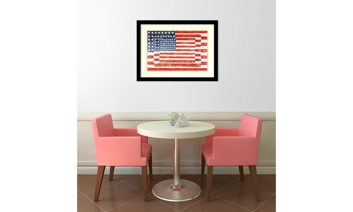 Jasper Johns \'Three Flags\' Framed Art Print 33x25-in | Groupon