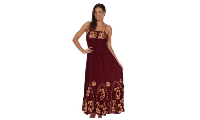 Sakkas Batik Embroidered Empire Waist Dress