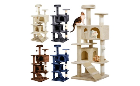 Topeakmart Cat Tree Tower Scratching Post Pet House Kitten 4 Colors 7dba8040-7b3e-4aa9-bffe-ae40a510906b