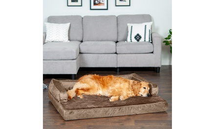 FurHaven Orthopedic Memory Foam Plush and Velvet Comfy Couch Dog Bed