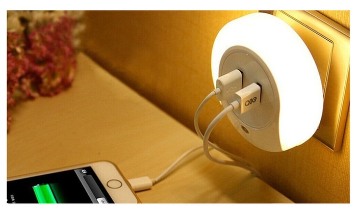 Led night light and dual usb wall plate charger groupon led night light and dual usb wall plate charger aloadofball Image collections