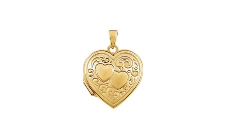 14K Yellow Gold-Plated Sterling Silver Double Heart Locket 7d191818-ee31-48f5-b70c-80700b634fc6