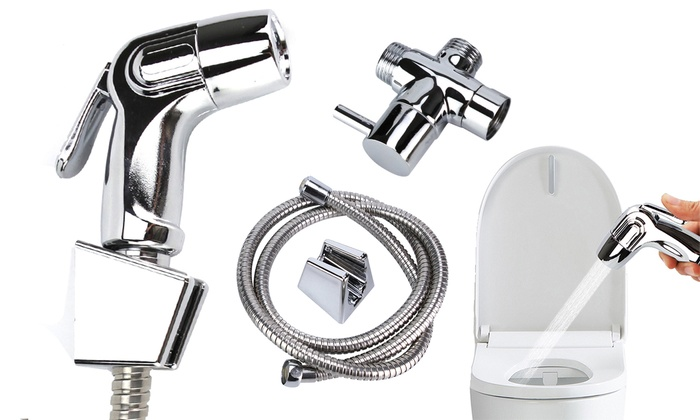 Stainless Steel Handheld Bidet Spray Shattaf Toilet With T Adapter And Hose Kit Groupon