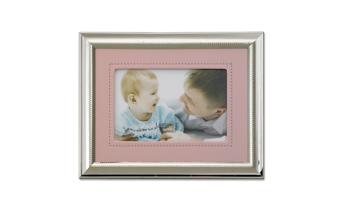 silver plated 4x6 metal picture frame pink faux leather mat groupon. Black Bedroom Furniture Sets. Home Design Ideas