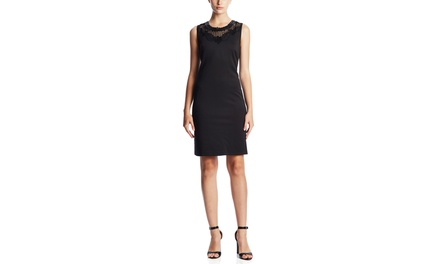 SPENSE Sleeveless A Line Shift Dress with Faux Leather Detail