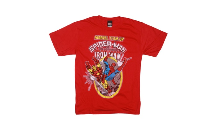 Groupon Stores: Marvel Team Up Spiderman and Iron Man Red T-shirt