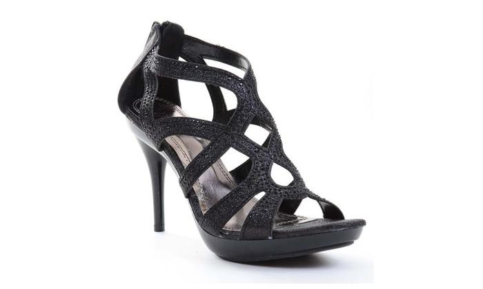 Caged Jeweled Beaded Platform Heels Sandals Black Amy-35