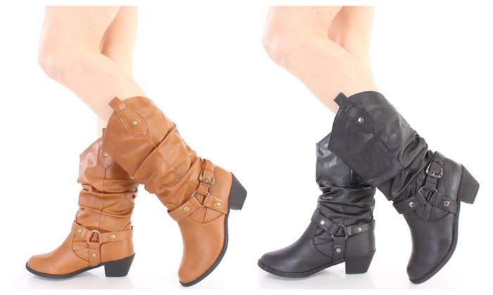 Beijing Black Slouchy Mid Calf Cowboy Boots Faux Leather