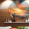 Wooden Bridge under Colorful Sky' Sea Bridge Metal Circle Wall Art