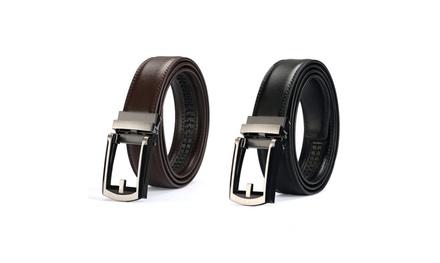 Men's Comfort Click Belt Leather With Steel Buckle Brown/Black