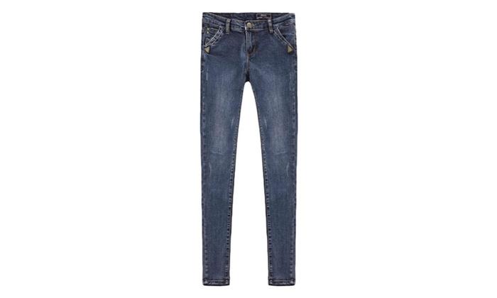 Women's Solid ZipUpwithButtonClosure Long Low-Rise Jeans