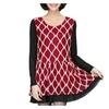Women's Loose Fit Crewneck Long Sleeve Full Lace Plaid Dress