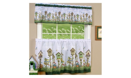 """Home Sweet Home Tier Pair 36""""x58"""" and Valance 13""""x58"""" Set- Multi Color 9f747ee3-a06a-4645-b621-8849d7f7ea02"""