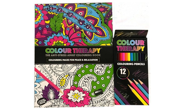 Anti Stress Adult Colour Therapy Colouring Book With Color Pencils