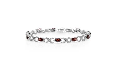 5.47ctw Sterling Silver Garnet & Infinity Link Bracelet da4ddcde-7a6e-4d12-baa3-20c8e23c59f8