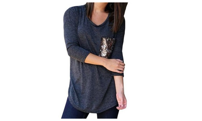 Womens Long Sleeve T-shirt Sequined Loose Blouse Tops