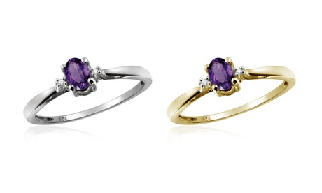 Jewelonfire 0.23 CT Amethyst & Accent White Dia Ring in SS 15347 58f897ba-4353-48be-ae0c-55ced2922347
