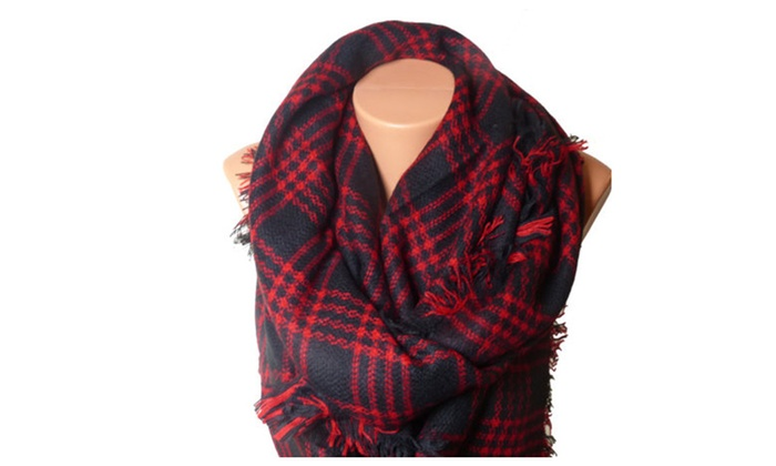Unisex Over Size Red Square Fashion Blanket Scarf