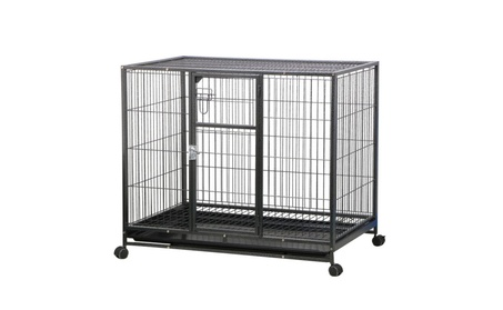 """Topeakmart 43"""" Dog Crate Cage Metal Pet Playpen Kennel Large Rolling 8abf9acb-d4b4-4948-a1f0-0a054486f085"""