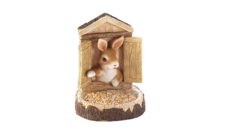 Open the Shutters of His Tree House Bunny Wall Hanging Bird Feeder (Goods For The Home Patio & Garden Bird Feeders & Food) photo