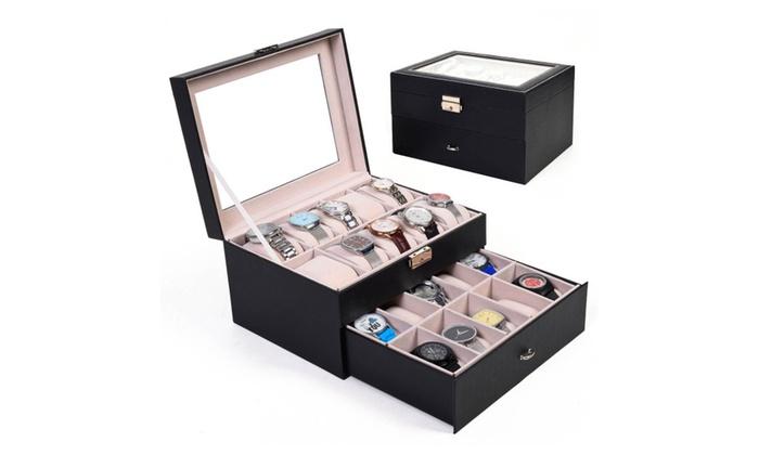 20 Slot Leather Watch Box Display Organizer Glass Jewelry Storage