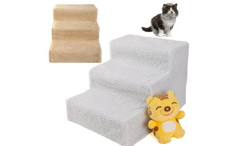 Soft up to 70lbs Portable Cat Dog 3-Step Pet Stairs