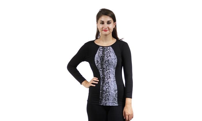Women's 2-Tone Snakeskin Printed Tunic,2014SNK,S